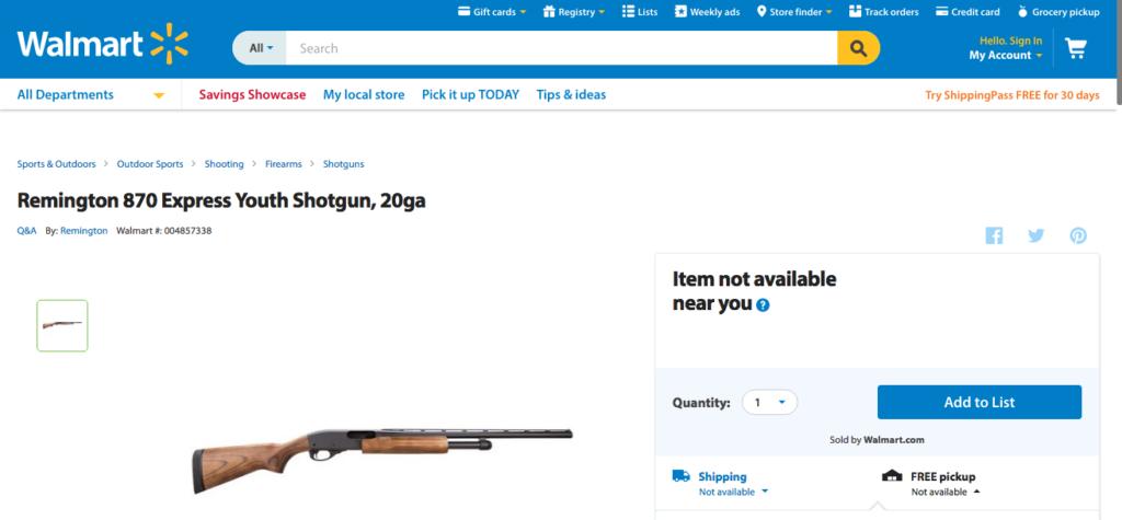 Uno dei tanti fucili acquistabili nella famosa catena di supermercati statunitense WalMart