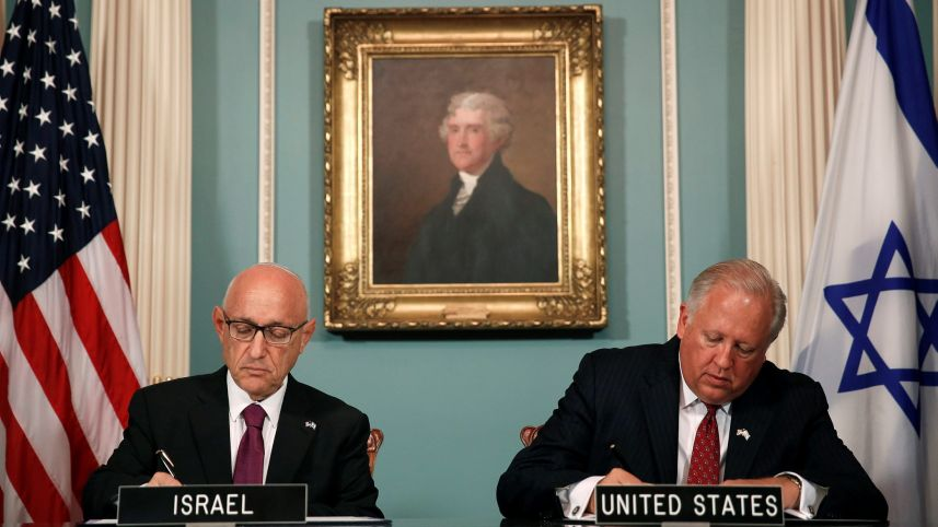 Tom Shannon and Jacob Nagel participate in a signing ceremony for a new ten year pact on a defense aid agreement between the U.S. and Israel, Washington, U.S., September 14, 2016. Gary Cameron, Reuters