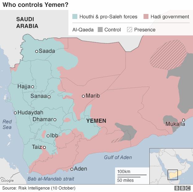Situazione in Yemen aggiornata al 10 ottobre - credits: bbc.com