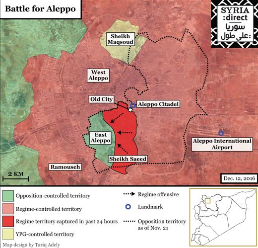 """""""La battaglia di Aleppo"""", mappa aggiornata al 12/12/2016. Credits to: Tariq Adely/Syria Direct."""